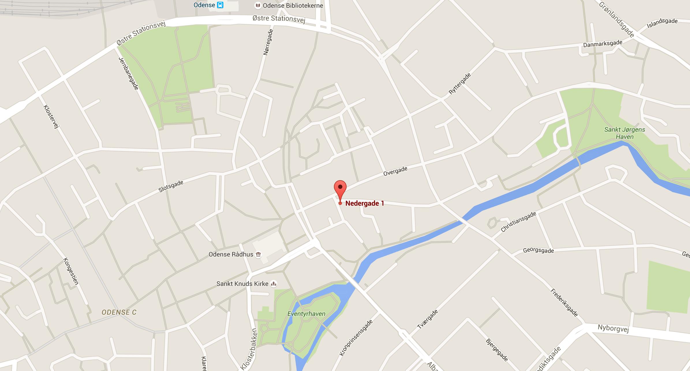 Google Maps: Nedergade 1, 5000 Odense